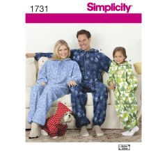 Simplicity Pattern 1731 Child`s, Teens` and Adults` Fleece Jumpsuit
