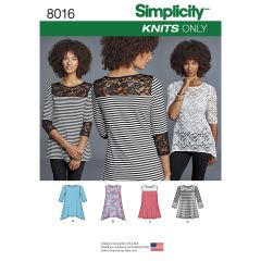 Simplicity Pattern 8016 Women`s Knit Tops with Lace Variations
