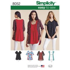 Simplicity Pattern 8052 Women`s Easy-to-Sew Tops