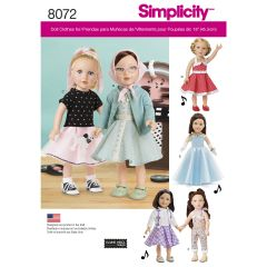"""Simplicity Pattern 8072 Vintage Inspired 18"""" Doll Clothes"""