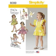 Simplicity Pattern 8099 Toddlers` Romper and Button-On Skirt