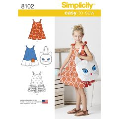 Simplicity Pattern 8102 Child`s Easy-to-Sew Sundress and Kitty Tote