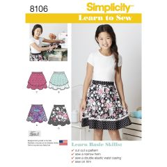 Simplicity Pattern 8106 Learn To Sew Skirts for Girls & Girls Plus