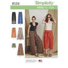 Simplicity Pattern 8134 Women`s Easy-to-Sew Trousers & Shorts