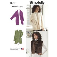 Simplicity Pattern 8218 Women`s Easy-to-Sew Jackets and Vest