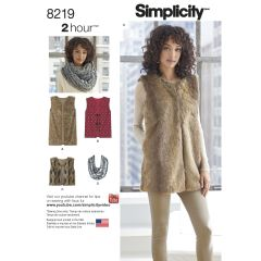 Simplicity Pattern 8219 Women`s Lined Vest in Three Lengths