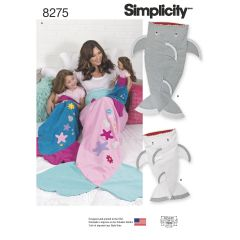 """Simplicity Pattern 8275 Novelty Blankets for Child, Adult and 18"""" Doll"""