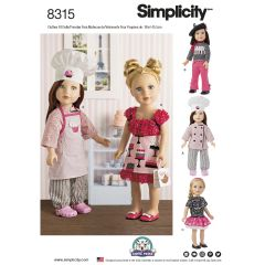 """Simplicity Pattern 8315 18"""" Chef Doll Clothes"""