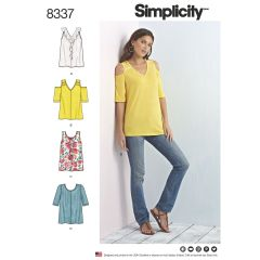 Simplicity Pattern 8337 Women`s Knit Tops with Bodice and Sleeve Variations