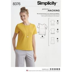 Simplicity Pattern 8376 Women's Knit Top with Multiple Pieces for Design Hacking