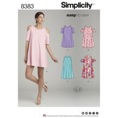 Simplicity Pattern 8383 Women`s Knit Trapeze Dress with Neckline and Sleeve Variations