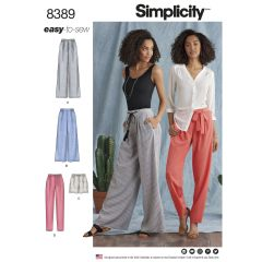 Simplicity Pattern 8389 Women's Trousers with Length and Width Variations and Tie Belt