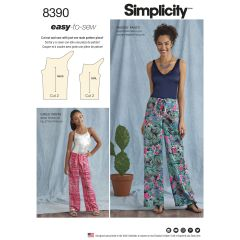 Simplicity Pattern 8390 Girl`s and Women's Tie Front One Piece Trousers