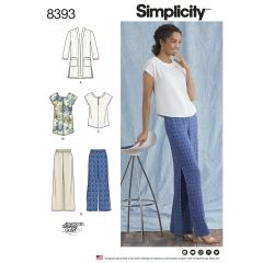 Simplicity Pattern 8393 Women's and Plus Size Trousers, Tunic or Top, and Knit Cardigan
