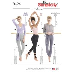 Simplicity Pattern 8424 Women`s Knit Leggings in Two Lengths & Three Top Options