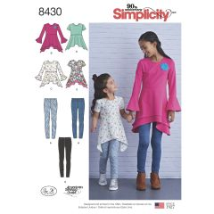 Simplicity Pattern 8430 Child & Girls Knit Tunics in Two Lengths &Leggings