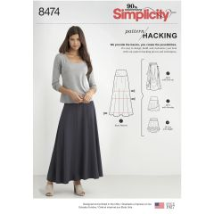 Simplicity Pattern 8474 Women's Knit Skirt with Options for Design Hacking