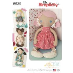 """Simplicity Pattern 8539 15"""" Stuffed Dolls & Clothes"""