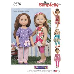 """Simplicity Pattern 8574 14"""" Doll Clothes"""
