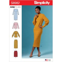 Simplicity Pattern S8982 Misses` Knit Two Piece Sweater Dress, Tops, Skirts