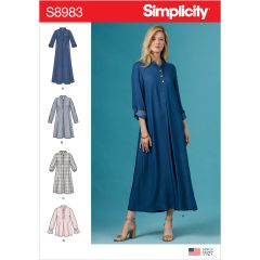 Simplicity Pattern S8983 Misses` Dresses with Sleeve Variation