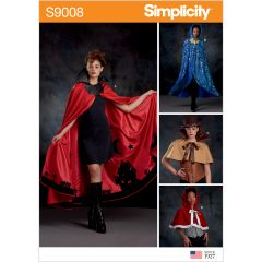 Simplicity Pattern S9008 Misses` Cape with Tie Costumes