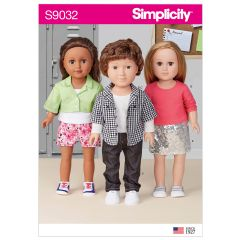 """Simplicity Pattern S9032 18"""" Unisex Doll Clothes"""