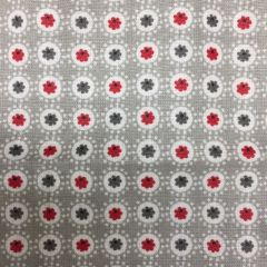 Luna Coated Cotton: Spot Grey / Red (24289)
